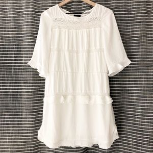 Who What Wear | White Boho Ruffle Shift Dress